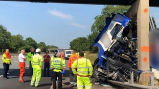 M6 reopens in both directions after lorry crashed into  bridge
