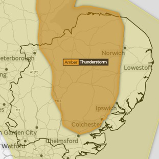 The Met Office has upgraded its thunderstorm warning for East Anglia to amber.