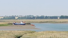 The boat ran aground at Bramble Island, Great Oakley