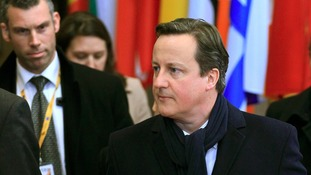 David Cameron seen during a break at the European Union summit