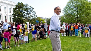 President Barack Obama attends the opening of the annual Easter Egg Roll festivities at the White House in Washington.