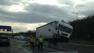 A lorry involved in a crash on the M1 near j25
