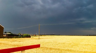 Storm clouds gathering on Friday afternoon at Ramsey St Mary in Cambridgeshire.