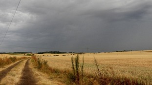More storm clouds on Friday evening close to Baldock in Hertfordshire.