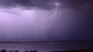 Lightning over the sea off Great Yarmouth in Norfolk taken from Caister-on-Sea.