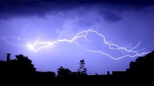 Forked lightning in a thunderstorm over the coastal resort of Sheringham in Norfolk.
