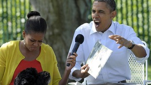 President Barack Obama and first lady Michelle Obama during the annual White House Easter Egg Roll.