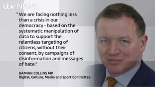 Damian Collins teared into Facebook for allowing Russian agencies to use its platform to spread disinformation and influence elections.