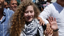 Ahed Tamimi was jailed after clashing with soldiers outside her home in West Bank.