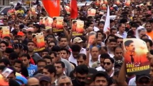 Protesters on the streets of Bahrain.