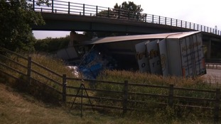 The bridge was damaged after a lorry hit it