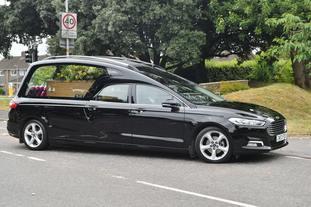 The hearse carrying Dawn Sturgess arrives at Salisbury Crematorium