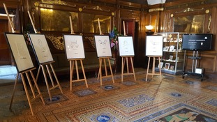 The Mandela prints on display at Liverpool Town Hall.