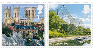 York Minster and ZSL London Zoo are featured on the new collection of stamps