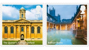 Queen's College Oxford and the Roman Baths are featured on the new collection of stamps
