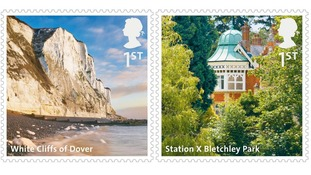 The White Cliffs of Dover and Bletchley Park are featured on the new collection of stamps