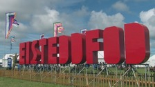 Eisteddfod sign in big red letters