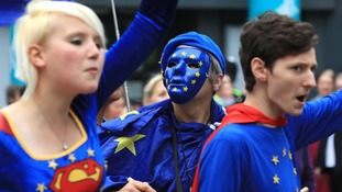 Young pro-EU activists target the Conservative conference demanding action.