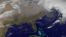 A blizzard is seen over Canada and the northeastern United States 