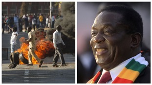 Protesters in Harare and Emmerson Mnangagwa.