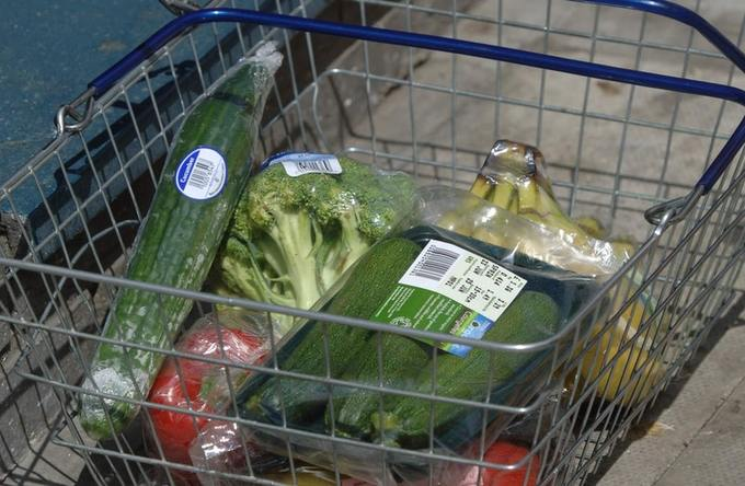 Food items with plastic packaging