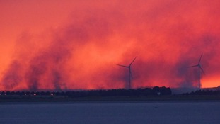 Firefighters tackle large field fires in Kent