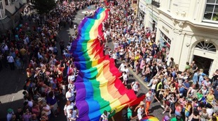 Thousands gather for the Brighton Pride parade