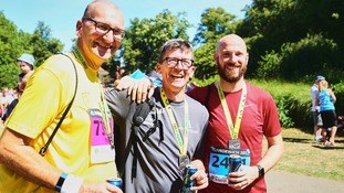 Tim Warner, on left ,who died for 6 minutes during last year's Run Norwich