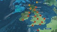 Sunday will see top temperatures of 30C (86F).