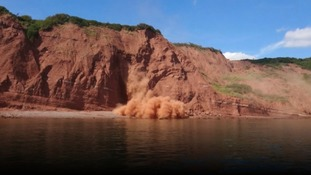 The cliff fall happened in Budleigh on Saturday