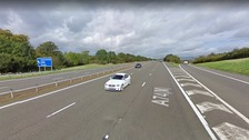 Southbound carriageway of the A74 between junctions 16 and 19.