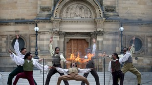 Acrobats from Cirque Berserk perform on the streets of Edinburgh to help launch the Edinburgh Festival Fringe 2018, ahead of their festival debut.