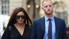Ben Stokes and his wife arriving at court.