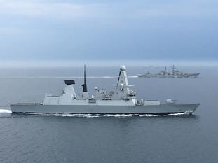Type 45 destroyer HMS Diamond at work in the English Channel.