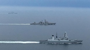 Type 45 destroyer HMS Diamond shadowing two Russian warships, destroyer Severomorsk and cruiser Marshal Ustinov.