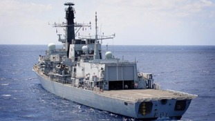 The Royal Navy's HMS Sutherland that previously escorted the Russian ships away from UK waters.