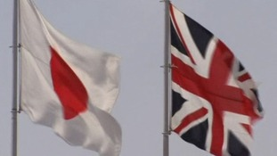 Japanese and British flags at Tokyo airport