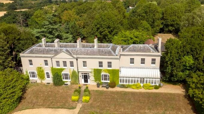 A aerial view of Dancers Hill House near Barnet, north London - worth £5.25 million.
