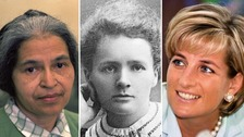 Rosa Parks, Marie Curie and Princess Diana are on the list.