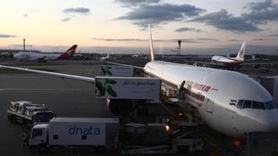 An Air India flight arriving at Gatwick Ariport