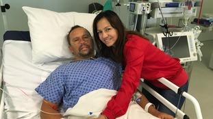 Hungarian swimmer Attila Mányoki, with his partner Monika Pais, recovering in hospital