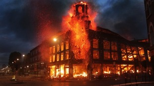 A building on fire in London during riots in August 2011.