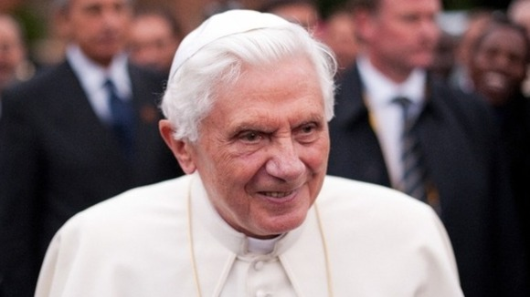 Pope Benedict XVI pictured on a visit to Oscott College in Birmingham in 2010.