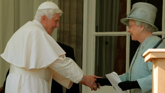 The Queen shakes hands with Pope Benedict XVI at the Palace of Holyroodhouse in Edinburgh in 2010 during his tour of Britain.