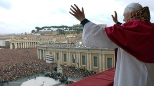 Pope Benedict waves from a balcony of St Peter's Basilica in the Vatican in 2005 after being elected by the conclave of cardinals