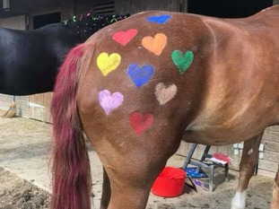 A painted horse.