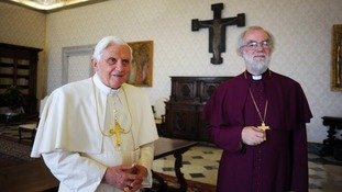 Pope Benedict XVI with the then Archbishop of Canterbury, Rowan Williams at a private meeting in 2009.