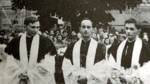 Pope Benedict (right) seen in 1951 with his brother Georg Ratzinger and friend Rupert Berger on the day that they were ordained.