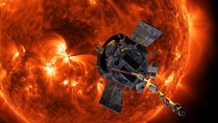 An artist's rendering of the Parker Solar Probe approaching the Sun.