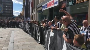 Hundreds of Newcastle fans line Northumberland street in protest of Mike Ashley's running of the club